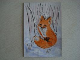 Лисица.  акварель  (открытка)