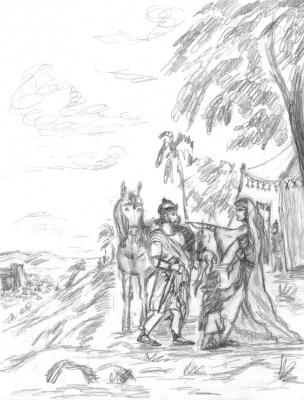 Жена отправляет мужа обратно в бой. В лагере евреев у Иерихона